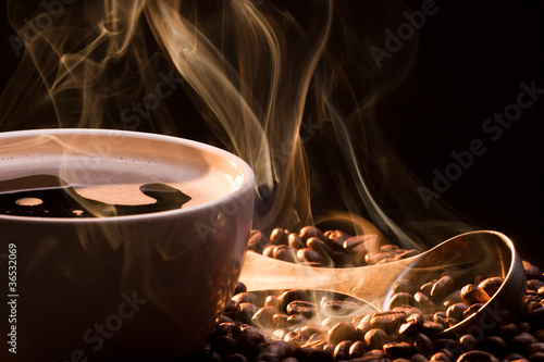 Coffee, smoke and roasred seeds
