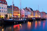 Fototapety Evening scenery of Nyhavn in Copenhagen, Denmark