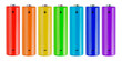 Leinwanddruck Bild - Row of rainbow colors batteries isolated on white