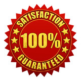 Satisfaction guaranteed,red and gold warranty label poster