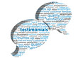 """TESTIMONIALS"" Tag Cloud (button customer satisfaction feedback"