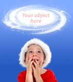 Surprised boy looking up to object placeholder poster