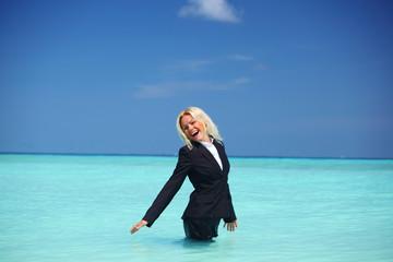 business woman in ocean