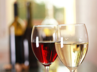 art wine glasses on the table