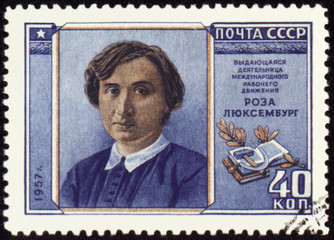 Portrait of Rosa Luxemburg on postage stamp