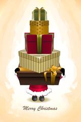 Vector Santa holding christmas gifts