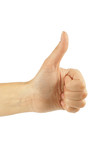 women hand make thumbs up isolated over white