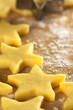 Unbaked star-shaped cookies