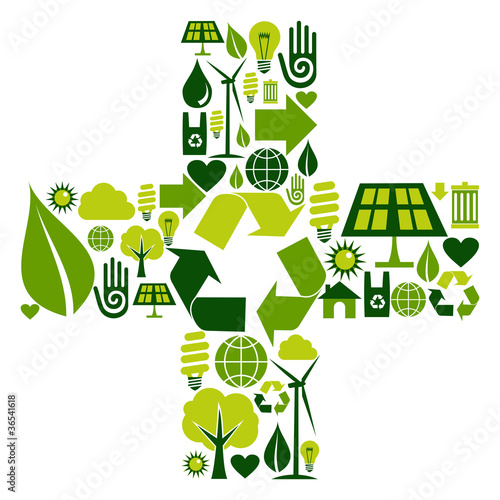 Plus symbol with environmental icons