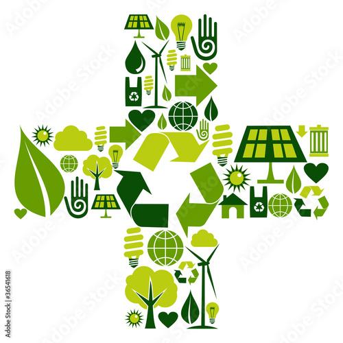 Plus symbol with environmental icons