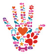 Pet animal protective hand icon set