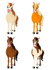 four various vector horses