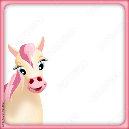 cute horse in pink frame