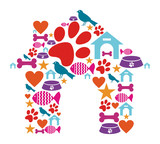 Pet kennel shape made with icon set poster