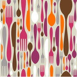 Fototapety Cutlery silhouette icons pattern background