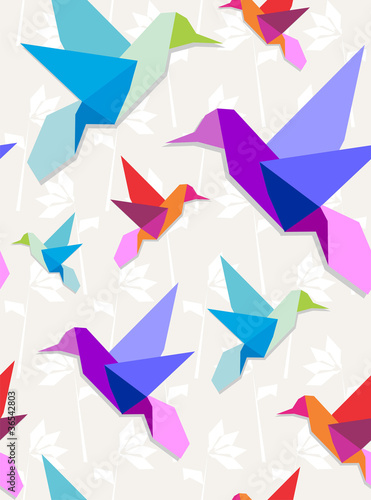 Staande foto Geometrische dieren Origami hummingbirds pattern background