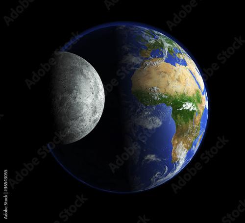 Unsere Erde und der Mond