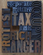tax the rich words in wood and metal type