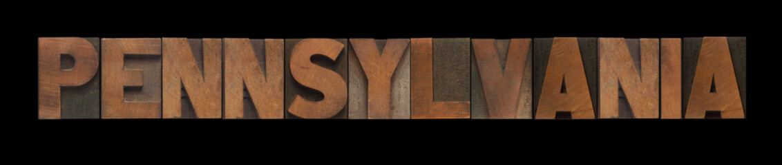 the word Pennsylvania in old wood type