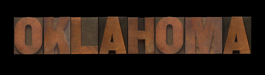 the word Oklahoma in old wood type