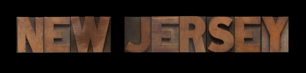 the words New Jersey in old wood type