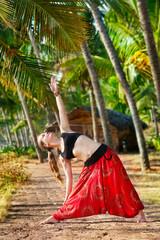 Yoga trikonasana triangle pose