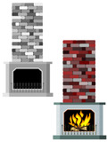 Vector illustration of fireplaces