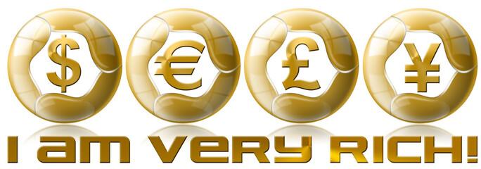 I am very rich! Dollars pound euro yen - futuristic coin