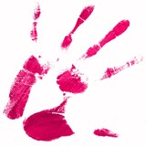 hand print with pink color