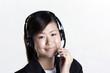 Happy female customer service representative