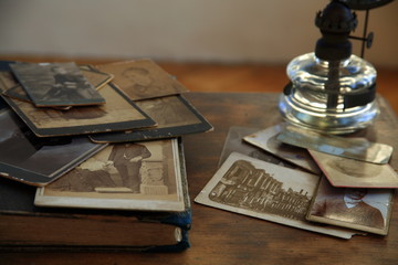 Old photos.potcard and book.