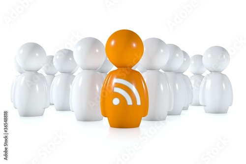 Feed readers follow an orange 3d human with rss logo