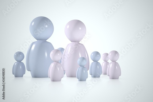 Stylized family in 3d with dad, mother and a lot of sons