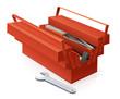 Boîte à outils rouge ouverte et ses outils (reflet)