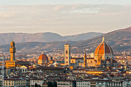 Florence, view of Duomo and Giotto's bell tower, and Santa croce