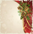 vintage  background  with Christmas fir tree and cones