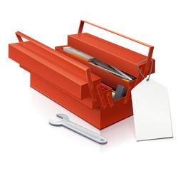 Boite à outils et son étiquette de prix blanche (reflet)