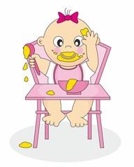 bebe niña comiendo sola