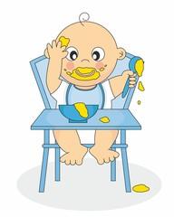 bebe niño comiendo solo