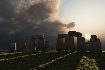 Stonehenge winter sun
