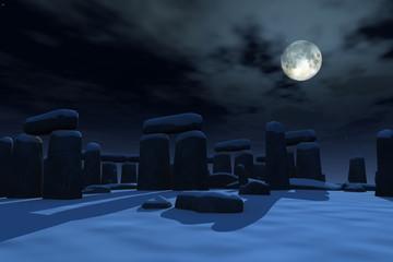Stonehenge under snow by moonlight