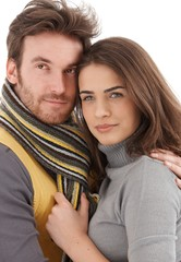 Closeup photo of attractive loving couple
