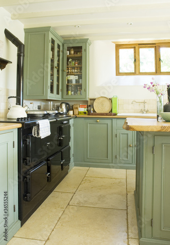 Old fashioned oven in modern kitchen