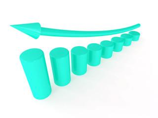 blue metallic columns of diagram with arrow rising upwards