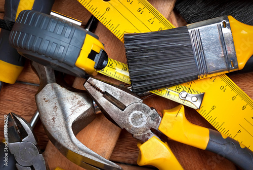 Set of tools over wooden boards