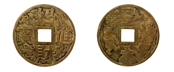 Chinese coin of happiness.