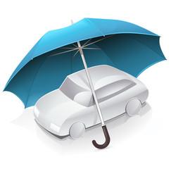 Voiture et assurance auto (reflet)