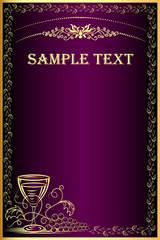 background with gold(en) grape and goblet for menu