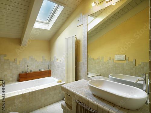 Bagno moderno in mansarda di adpephoto foto stock royalty - Bagno in mansarda non abitabile ...