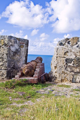 old canon at St Maarten tropical island